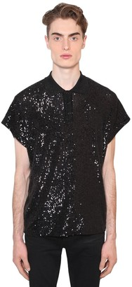 Saint Laurent SEQUINED LUREX JERSEY POLO