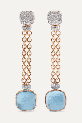 Pomellato Nudo 18-karat Rose And White Gold, Topaz And Diamond Earrings - Rose gold