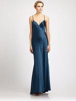 ABS by Allen Schwartz Satin Wrap Front Gown