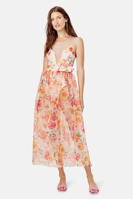 For Love & Lemons Coral Peony Maxi Dress