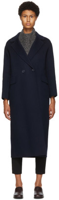 S Max Mara Navy Wool Argo Coat