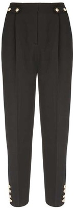 Mint Velvet Black Military Button Trousers