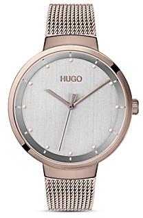 HUGO #Go Carnation Gold Mesh Bracelet Watch, 38mm