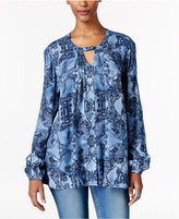 Style&Co. Style & Co Floral-Print Keyhole Blouse, Only at Macy's