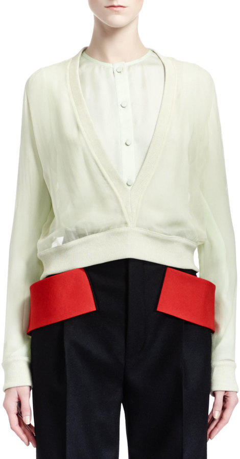 Givenchy Long-Sleeve Deep-V Silk Chiffon Top, Pale Green