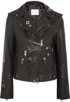 Mira Mikati Dance All Night Embellished Leather Biker Jacket - Black