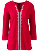 Lands' End Women's Petite Embroidered Tunic Top-Bright Scarlet