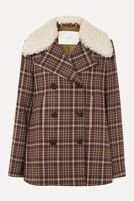 ADAM by Adam Lippes Shearling-trimmed Checked Woven Coat - Brown