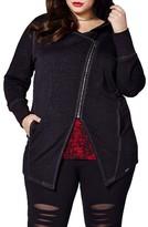 Plus Size Women's Mblm By Tess Holliday Plum Kitten Asymmterical Zip Hoodie