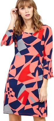 M&Co Izabel geo print flared sleeve dress