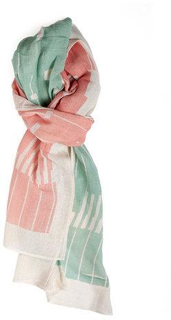 Lee Coren Block Cotton Scarf Pink Jade