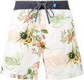 Riz Boardshorts White Bee Print Burgh Swim shorts
