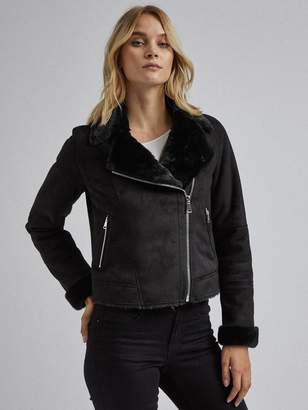 Dorothy Perkins FauxShearling Biker Jacket - Black