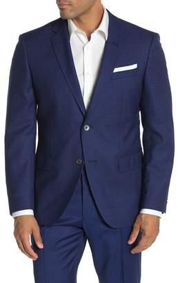 BOSS Hutson Blue Pin Dot Two Button Notch Lapel Virgin Wool Slim Fit Suit Separates Blazer