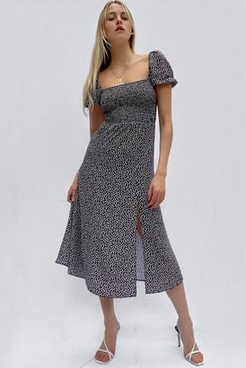 French Connection Elao Verona Crepe Smock Midi Dress Black Multi 2