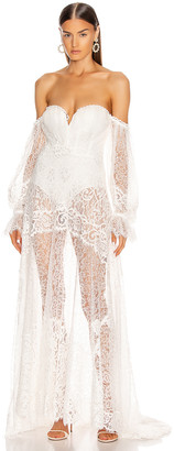 Jonathan Simkhai Embroidered Lace Bustier Gown in White | FWRD