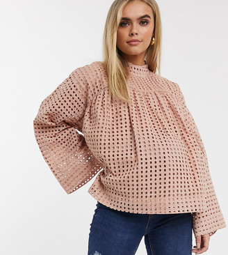 ASOS DESIGN Maternity long sleeve smock top with high neck in grid check broderie