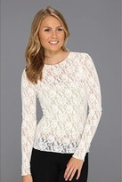Hanky Panky Signature Lace Unlined Long Sleeve Top (Marshmallow) Women's Lingerie