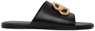 Balenciaga Black Oval BB Flat Sandals