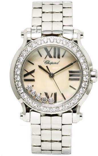 Chopard Happy Sport 8509 278509-3010 Stainless Steel Mother Of Pearl Dial wDiamond Quartz 30mm Womens Watch