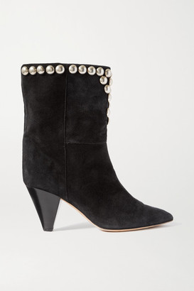 Isabel Marant Lunee Studded Suede Ankle Boots - Black