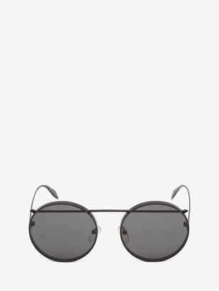Alexander McQueen Piercing Round Metal Sunglasses
