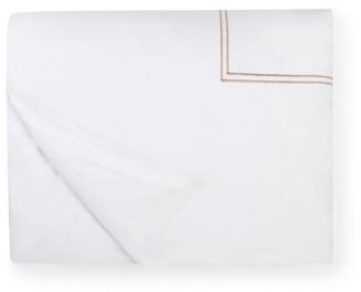 Sferra Grande Hotel Duvet Cover - White/Taupe Twin