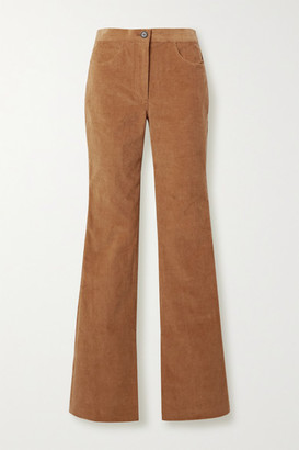 Adam Lippes Stretch-cotton Corduroy Flared Pants - Camel