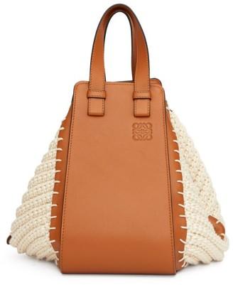 Loewe Hammock Knitted-panels Leather Bag - Womens - Tan White