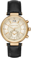 MICHAEL Michael Kors Sawyer 39mm Leather Strap Watch, Black