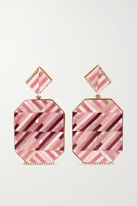 Casa Castro - Rose Mosaic 18-karat Gold Multi-stone Earrings - Pink