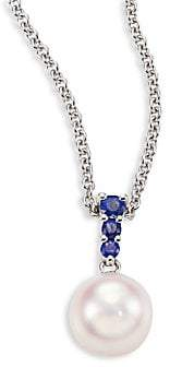 Mikimoto Women's Morning Dew 8MM White Cultured Akoya Pearl, Sapphire & 18K White Gold Pendant Necklace
