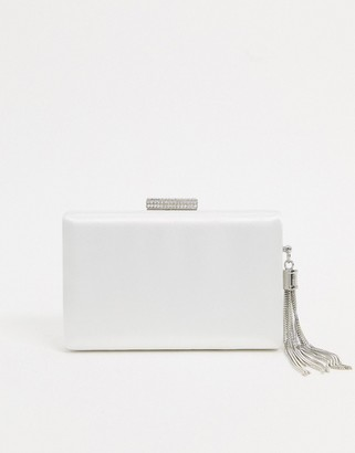 True Decadence True Decadance clutch bag in white satin with silver chain tassel