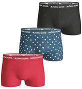 Bjorn Borg Contrast Spot Solid Short Trunks, Pack Of 3, Red/blue/black