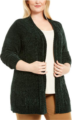 Karen Scott Plus Size Open-Front Chenille Cardigan