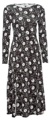 Dorothy Perkins Womens Dp Petite Black Blush Daisy Print Jersey Midi Dress, Black