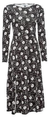 Dorothy Perkins Womens Petite Black Blush Daisy Print Jersey Midi Dress, Black