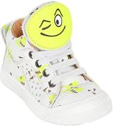 Ocra Smiley Patches Printed Leather Sneakers