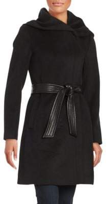 Cole Haan Asymmetrical Coat with Oversized Hood