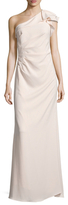 Carmen Marc Valvo Pleated One Shoulder Gown