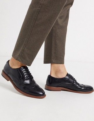 ASOS DESIGN brogue shoes in black faux leather