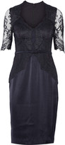 Catherine Deane Belted lace-paneled satin dress