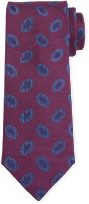 Canali Men's Disc Motif Silk Tie, Red
