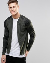 Asos Muscle Jersey Bomber Jacket With Geo-Tribal Printed Sleeves