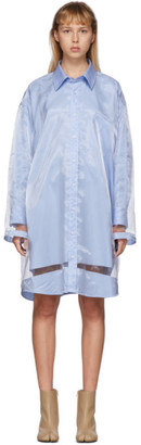 Maison Margiela Blue Sheer Overlay Shirt Dress