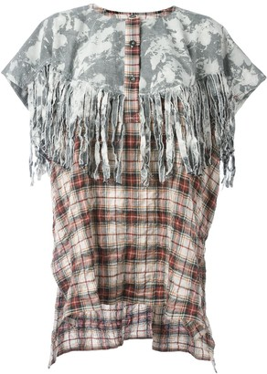 Faith Connexion Tie-Dye Tartan Fringed Tunic