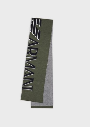 Emporio Armani Wool Scarf With Oversized Jacquard Logo