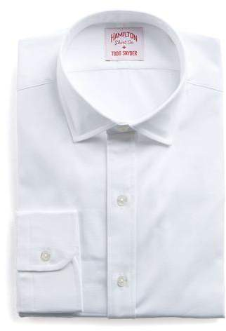 Hamilton White Solid Pinpoint Shirt
