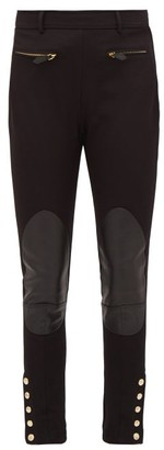Burberry Leather-patch Stretch-cotton Trousers - Womens - Black