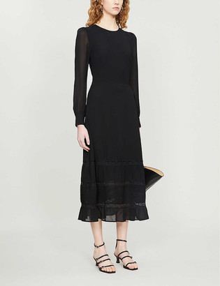 Reformation Valerie frill-trimmed crepe midi dress